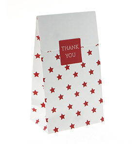 White with Red Star Gloss Treat Bag