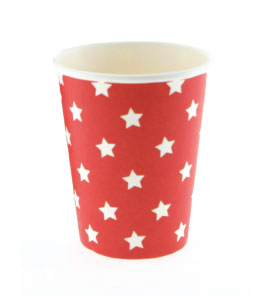 Red with White Star Cups