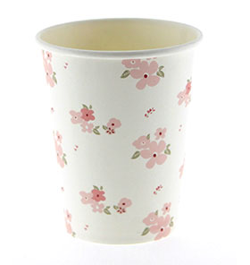 White Floral Cups