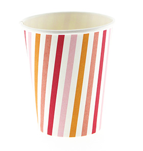 Summer Peach Stripe Cups