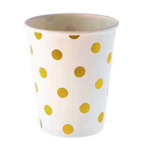 White with Gold Foil Polkadot Cups