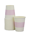 White with Soft Pink Stripe Cups