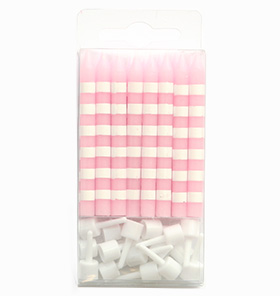 Pink Candystripe Candles