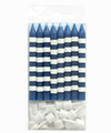 Navy Candystripe Candles