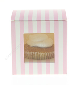 Pink Candy Stripe Cupcake Box