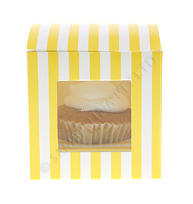 Yellow Candy Stripe Cupcake Box