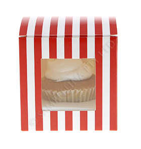 Red Candy Stripe Cupcake Box