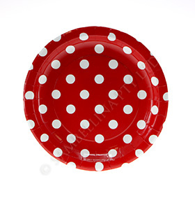 Red with White Polkadots Cake Plate