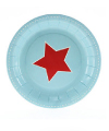 Blue with Red Star Cake Plate