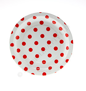 White with Red Polkadots Cake Plate