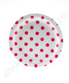 White with Raspberry Polkadots Cake Plate