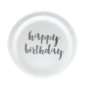 Silver Foil Happy Birthday Cake Plates