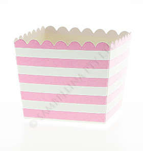 Pink Stripe Scallop Favour Box