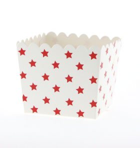 White with Red Stars Favour Box