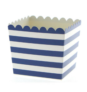 Navy Stripe Scallop Favour Box