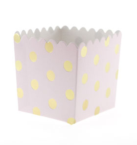 Pink with Gold Foil Large Dot Scallop Favour Box