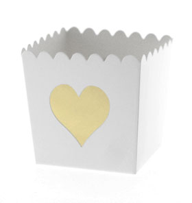 White with Gold Foil Heart Scallop Favour Box
