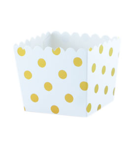White with Gold Foil Large Dot Scallop Favour Box