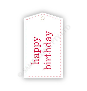 Birthday White Red Gift Tags