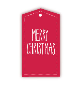 Merry Christmas Red Gift Tags