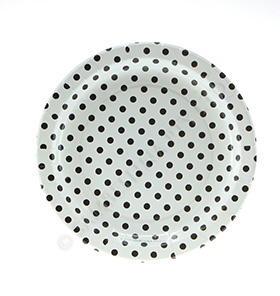 Polkadot Black on White  Round Party Plates