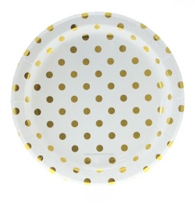 White with Gold Foil Polkadot Plates