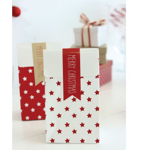 Red Merry Christmas Flag Stickers
