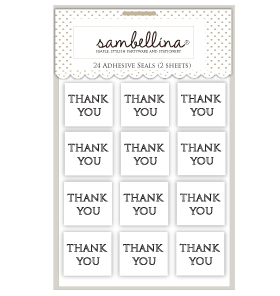 Square Thank You White With Black Sticker