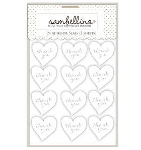 Heart Stickers White with Silver Stamp