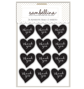 Heart Stickers Black with White
