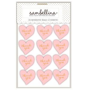 Heart Stickers Pink with Gold Stamp