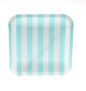 Candy Stripe Blue Square Plates