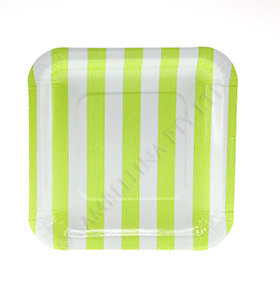 Candy Stripe Lime Square Plate