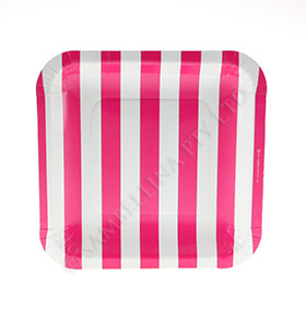 Candy Stripe Raspberry Square Plate