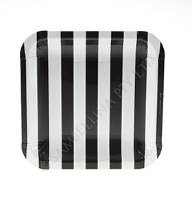 Candy Stripe Black Square Plate