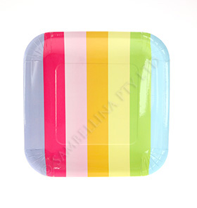 Rainbow Stripe Square Plate