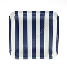 Candy Stripe Navy Square Plate