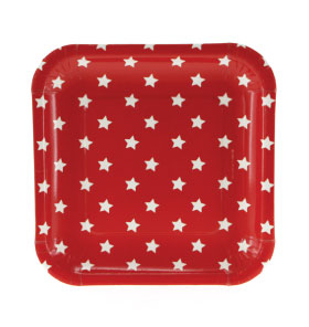 Red with White Stars Square Plate