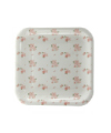 White Floral Square Plate