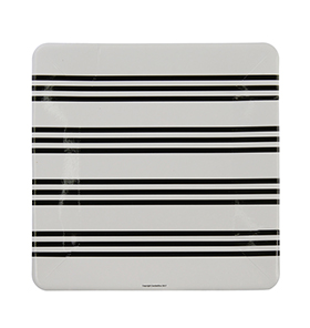 Black French Stripe Large Square Plate