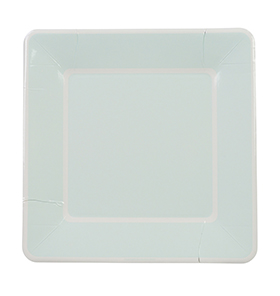 Soft Blue Border Large Square Plates