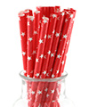 Red with White Stars Straws