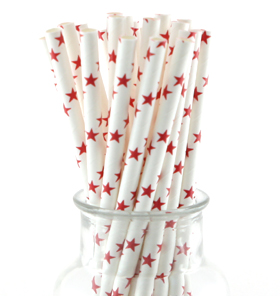 White with Red Stars Straws